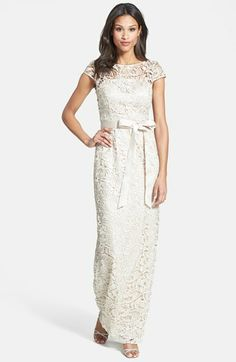 Wedding Bliss Simple Understated Wedding Nuptials| Serafini Amelia| Adrianna Papell Lace Gown (Regular & Petite) available at #Nordstrom
