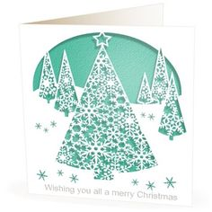 Christmas Card Laser Cut Trees