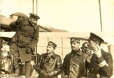 Ahmet Ali Çelikten (in the background) with a group of Ottoman pilots