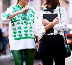 Go bold in green with a pair of leather pants and a printed blouse