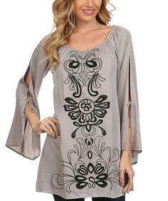 Love this Gray & Black Soutache Cutout Flare-Sleeve Tunic - Plus Too by L & B on #zulily! #zulilyfinds