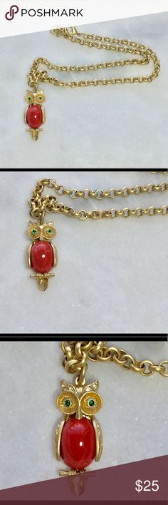 """🦉Stella & Dot Owl Pendant Necklace🦉 Adorable owl pendant necklace. Owl is gold and a pretty red/coral color with green gem eyes. 19"""" long. Cleaned ultrasonically just for you. 😊 Stella & Dot Jewelry Necklaces"""