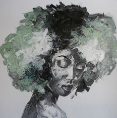 afro girl painting 100x100