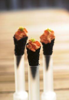 Sea urchin cream and squid ink cornets. How exotic!