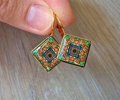 Mexican Tile  replica earrings Talavera tiles replica by XTory