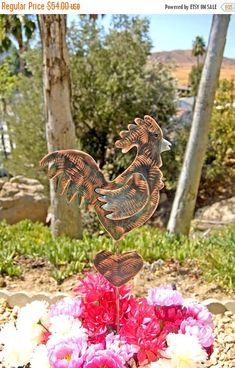 SALE Rooster Outdoor Metal Yard Art Garden Plant Stake, Copper Garden Art, Memorial, Rooster Sign, Chicken Sculpture, Garden Art Marker, Bar