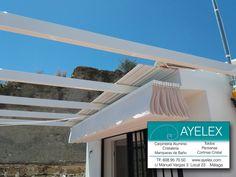 Instalación de 2 Toldos Palillería vista en tejido Standard color Blanco, estructura tipo Pergola en aluminio y tejadillo para salvaguardar los toldos, todos los herrajes y estructura lacada en blanco. Centro Histórico Marbella (Málaga) 18/06/2016 www.ayelex.com