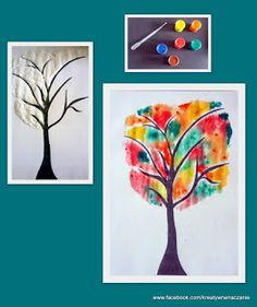 Kreatywne nauczanie: JESIENNE DRZEWO (sól + farby)