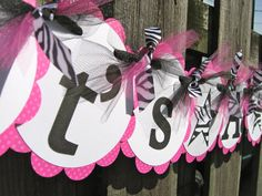 Baby Shower Banner  It's a Girl  Pink Black and by ElegantEvee, $19.00