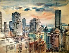Montreal 1965; watercolour on paper; 27.5 x 30 cm