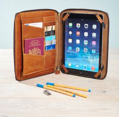 This leather iPad organiser case is a beautiful new addition to our range and we love it!  The distressed buffalo leather adds wonderful