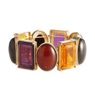 Multicolored Cabochon Bracelet - Impossibly glossy, this stretch must-have adds unforgettably vibrant glam to any look.