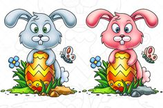 Check out Cute Little Easter Bunny by pixaroma on Creative Market