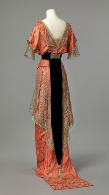 1913 -1914 vintage gown dress evening formal pink coral orange black lace 10s downton abbey era WWI
