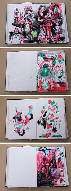 Kunstjournal Inspiration, Sketchbook Inspiration, Arte Sketchbook, Sketchbook Pages, Art And Illustration, Drawing Sketches, Art Drawings, Posca Art, You Draw
