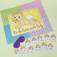 Baby Shower Games ideas pin the bottle on the baby #babyshower