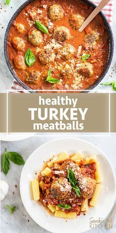 Easy, healthy Turkey Meatballs the whole family will enjoy! This gluten free turkey meatballs recipe is made with ground brown rice crackers, herbs, and garlic, and slow simmered in a homemade basil marinara sauce for an hour. An easy dinner recipe you'll Healthy Pasta Recipes, Healthy Pastas, Easy Healthy Dinners, Easy Dinner Recipes, Ground Turkey Meatballs, Recipe For Turkey Meatballs, Healthy Meatballs, Snacks Sains, Ground Turkey Recipes
