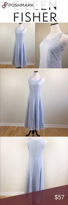 EILEEN FISHER 100% IRISH LINEN DRESS XS Elegant and gorgeous Eileen Fisher 100% Irish linen light blue dress in size small. Comes with an inside cotton lining that can be detached for laundry. The linen part is just exquisite with strings on the inside making it easy to make it body hugging, creating an hourglass figure! This is just pure LUXURY. Pre owned item with no stains or holes, but has the look and feel of pre loved, not new. Love it? Make an offer! Questions? Ask me 😉💖😊 Eileen…