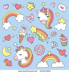 Find Cute cartoon unicorn sticker or patch set. Vector illustration stock vectors and royalty free photos in HD. Explore millions of stock photos, images, illustrations, and vectors in the Shutterstock creative collection. Creative Flyer Design, Creative Flyers, Unicorns, Comic Style, Unicorn Foods, Hijab Cartoon, Cartoon Unicorn, Unicorn Stickers, Cartoon Drawings