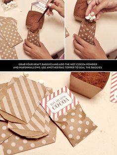 DIY Hot Cocoa Bags @Tricia Leach Leach Leach Leach Leach Gunsolus (winter wedding party favs!!)
