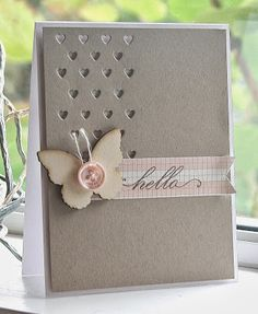 handmade card from Hey There .... rosigrl!: butterfly hello... kraft and soft neutral look ... luv the negative space created with small heart grid die ...