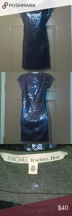"RACHEL by RACHEL ROY SEQUINED DRESS-SIZE XS-NWOT -RACHEL by RACHEL ROY SEQUINED DRESS -Size XS -Brand New, Never Worn -Gun Metal Grey -Inside of Dress is soft t shirt material -Armpit to armpit measures 18"" -Shoulder to bottom hem measures 32"" -100% Polyamide -Great Looking Dress RACHEL Rachel Roy Dresses"
