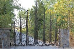 Driveway and privacy gates wrought iron and innovative metal design Metal Gates, Wrought Iron Gates, Metal Garden Gates, Front Gates, Entrance Gates, Driveway Entrance, Entrance Design, Tor Design, Architecture