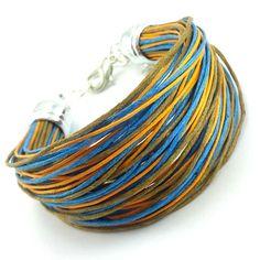 Bransoletka na bawełnianym, kolorowym sznurku jubilerskim ( jasny brąz, pomarańczowy i niebieski ) w minimalistycznym stylu. Lens, Metal, Bracelets, Leather, Jewelry, Fashion, Moda, Jewlery, Jewerly