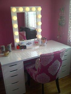 Makeup Vanity Set With Light Mirror And BenchDIY Makeup Vanity Desk Set Up   ALEX Ikea Hack  Vanity Girl  . Vanity Girl Makeup Desk. Home Design Ideas