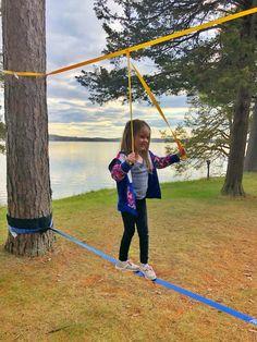 Minnesota Yogini - Beginners Guide to Slacklining with Kids - Minnesota Yogini Outdoor Fun For Kids, Outdoor Play Areas, Outdoor Activities For Kids, Backyard For Kids, Natural Playground, Backyard Playground, Backyard Games, Kids Play Area, Outdoor Projects