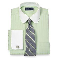 2-Ply Cotton Raised Satin Stripe Club Collar French Cuff Dress Shirt | Paul Fredrick