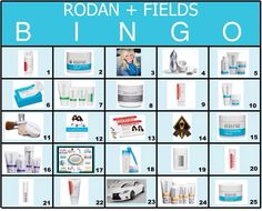 Rodan + Fields BINGO Have everyone pick 5 numbers as they come in (1 from each letter) as you go through and talk about the products, indicate which number it is on the card. Whoever gets BINGO first, gets a prize! HTTPS://galeklotsko.myrandf.com