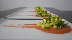 """Tartare di zucchine su letto di Gaspacho Dal Blog """"Mastercheffa"""" http://blog.giallozafferano.it/mastercheffa/tartare-di-zucchine-su-letto-di-gazpacho/"""