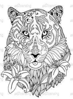 Tiger Coloring Page for Grown Ups - Easy Peasy and Fun | 317x236