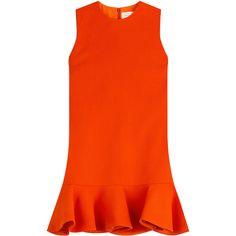 Victoria, Victoria Beckham Wool Dress ($495) ❤ liked on Polyvore featuring dresses, flounce hem dress, mini dress, mini shift dress, short shift dress and orange shift dress