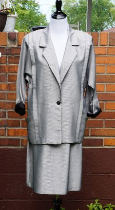 80s Vintage Shiny Suit by Maggie Lawrence, Working Girl Shoulder Pads, Baggie Jacket, Roll up Sleeves. size 12 by Have2Shop on Etsy