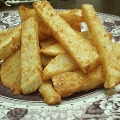 Crispy Turnip 'Fries' Recipe Side Dishes with turnips, vegetable oil, grated parmesan cheese, garlic salt, paprika, onion powder