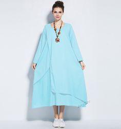 Any Size retro soft linen dress plus size dress plus size tops plus size clothing spring autumn dress spring autumn clothing