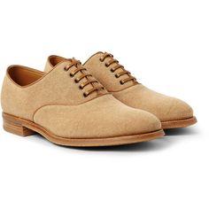 John Lobb Savannah Canvas Oxford Shoes (2.223.605 COP) ❤ liked on Polyvore featuring men's fashion, men's shoes, men and neutrals