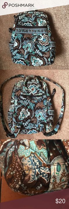 Vera Bradley, small blue and brown backpack Vera Bradley, small blue and brown backpack, overall good condition with some signs of wear and tear (pictured) Vera Bradley Bags Backpacks