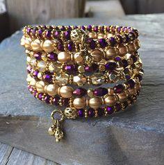Golden Royal Majesty Multi Strand Memory Wire Coil Bracelet With Matching Charm Dangles Memory Wire Jewelry, Memory Wire Bracelets, Homemade Jewelry, Diy Jewelry Making, Beaded Jewelry, Beaded Bracelets, Wrap Bracelets, Jewelry Necklaces, Wire Wrapped Bracelet