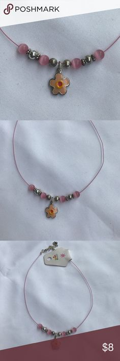 ❤️❤️ Girls flower necklace $8 or 3 for $15❤️❤️ This necklace is for a little girl has beads of pink, silver with the charm hanging in the center of a flower with coral yellow and pink enamel on silver tone base. Accessories Jewelry