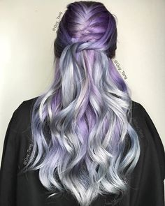 "hello my HairBesties! ""Mystique"" using combinations a of @pravana chromasilk express tones 5 minute toner in ash on damp hair to set a smoky ashy foundation and then overlay vivids silver black, Violet lavender, mint pastel blue, and clear! Mix to my liking and place color where I see fit!"