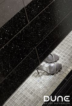 COSMIC GLASS – - As its name suggests, this glass is noted for its cosmic background, achieved thanks to the use of black and the metallic effects of its finish. For combining with white and black, it also comes with a matching washbasin. Wall Tiles, Dune, Cosmic, Style Fashion, Creativity, Louvre, Metallic, It Is Finished, Shades
