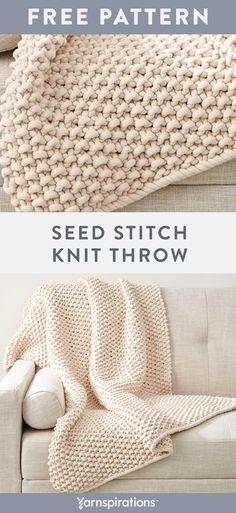 Free knit pattern using Bernat Maker Big yarn. - Crochet and knitting - Free knit pattern using Bernat Maker Big yarn. Knit in one pie - Easy Knitting Projects, Easy Knitting Patterns, Knitting Stitches, Free Knitting, Crochet Projects, Easy Patterns, Kids Knitting, Knitting Yarn, Free Baby Sweater Knitting Patterns