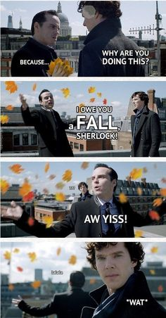 "That time that Moriarty put a spin on The Reichenbach Fall. | 33 ""Sherlock"" Puns That Will Tickle Your Punny Bone"