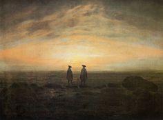 Friedrich, Caspar David: Zwei Männer am Meer bei Mondaufgang (Zwei Männer am Meer bei Sonnenuntergang)
