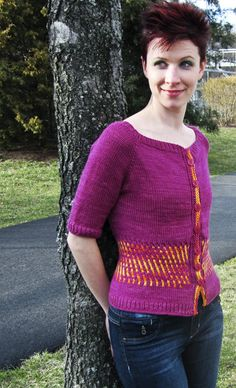 She's Electric cardigan - knitty. diff color scheme.
