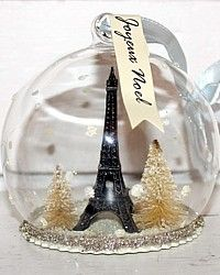 Tour Eiffel Tower Memory Globe Ornament-french,glass,snowglobe,christmas, tree, package, topper,