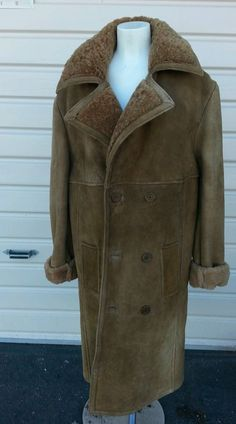 70s 100% SHEARLING FUR SUEDE LEATHER WOMEN COAT BRWN LAMB FUR lined Jacket 46 14 #HideofAlexander #BasicCoat